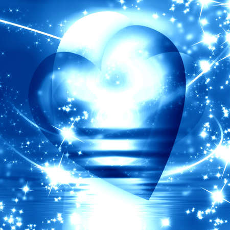 peacefull: A blue heart surrounded by sparkles Stock Photo