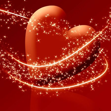 peacefull: A red heart surrounded by sparkles Stock Photo