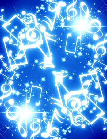 musical notes with sparkles on a blue background Stock Photo - 3201954