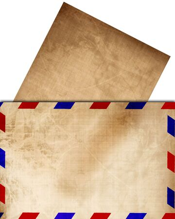 air mail: Vintage air mail envelope with letter sticking out