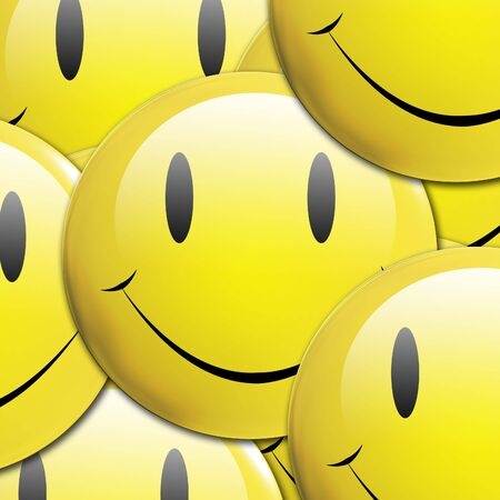 Background composited by overlapping 3d rendered emoticons Stock Photo - 3201888