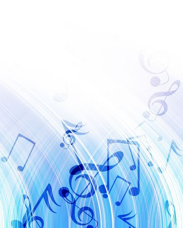 pc tune: blue abstract background with integrated musical notes Stock Photo