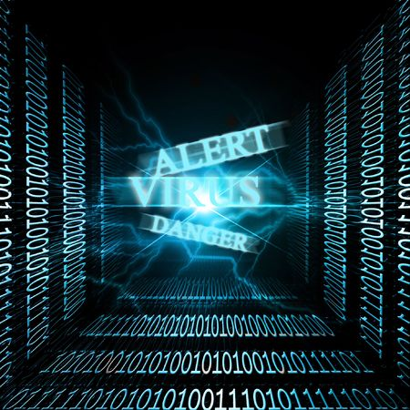 volts: Virus alert on a computer connection with bits and bytes Stock Photo
