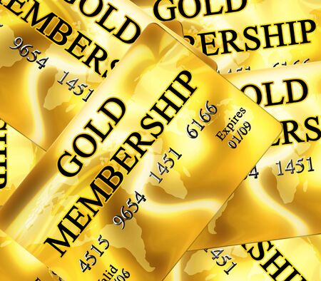 Multiple gold membership cards with shades