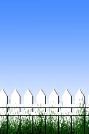Fence on a light blue background with room for print photo