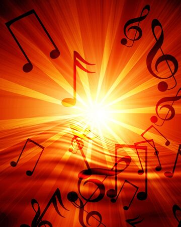 abstract music: Glowing sunset with musical notes