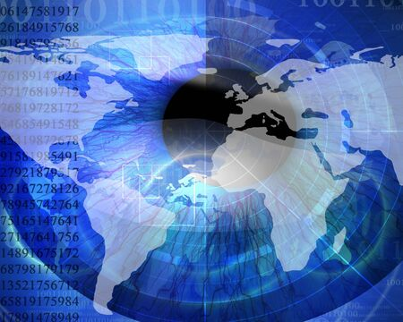 reconnaissance: Arri�re-plan de technologie avec iris sont analys� et p�le monde num�rique