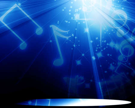 musical notes on a clear blue background photo