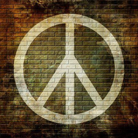 Peace symbol on grunge wall photo