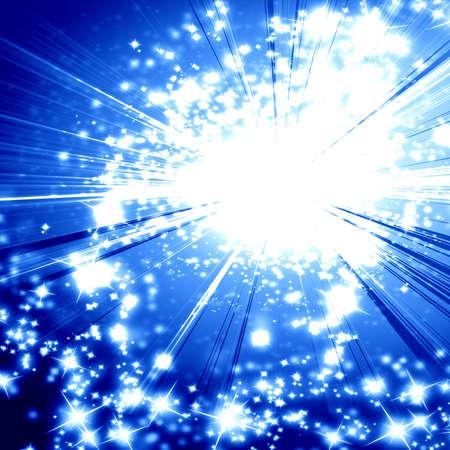 implosion: Blue explosion on a dark background