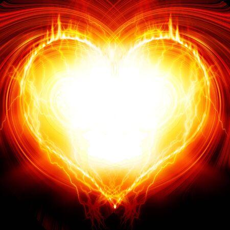 heartache: Heart on fire Stock Photo