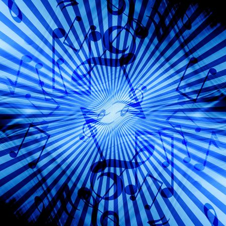 Blue abstract background with music notes Stock Photo - 3207233