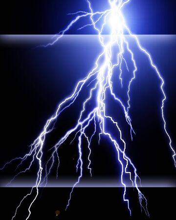 volts: Blue lightning flash on black sky Stock Photo