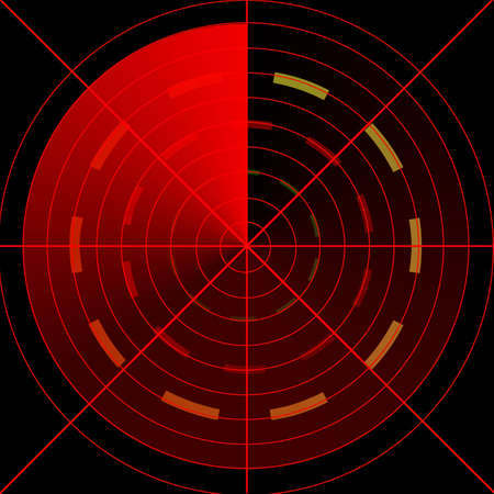red radar screen on a black background photo