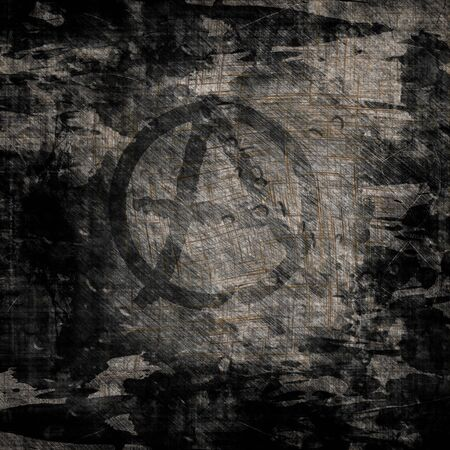 anarchist: Grunge wall with anarchist graffiti symbol Stock Photo