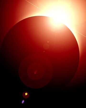 protuberances: Solar eclipse in outer space on a dark background Stock Photo