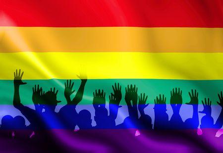 bandera gay: Bandera de orgullo gay ondeando en el viento con algunos pliegues