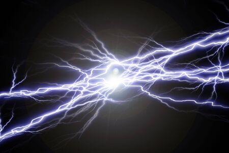 volts: Electrical sparks on a solid black background Stock Photo