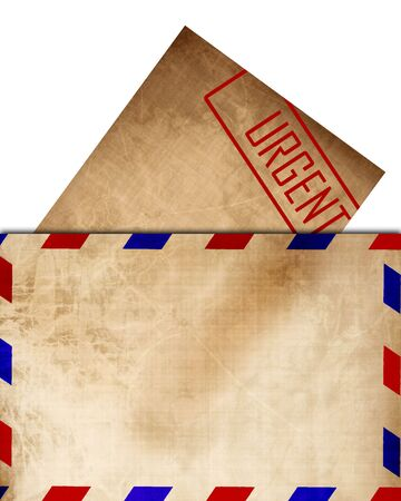 post scripts: Vintage air mail envelope with letter sticking out  Stock Photo