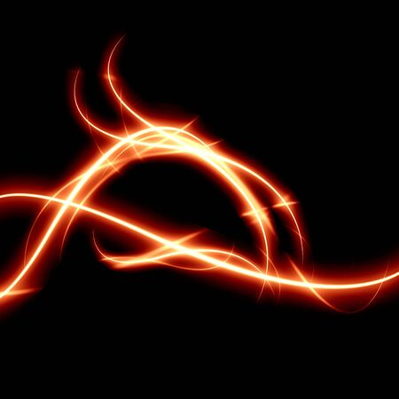 curving: abstract fire line on a solid black background