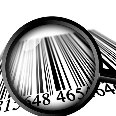 Barcode fading into the distance with magnifier photo