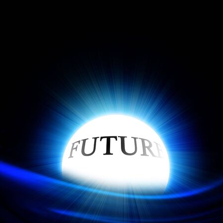 compute: crystal ball with future on a black background