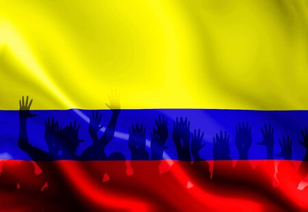 colombian flag: Colombian flag waving in the wind with some folds