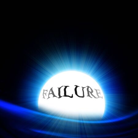 plummet: crystal ball with failure on a black background Stock Photo
