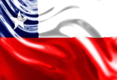 bandera chilena: Bandera chilena ondeando en el viento