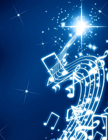 Musical notes on a glittering and dark background Stock Photo