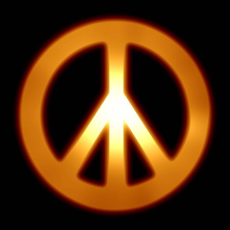 peace symbol on a solid black background photo