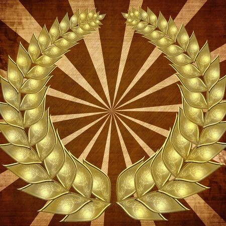 golden wreath on an abstract background photo