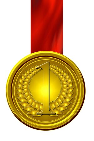 gold medal on a solid white background photo