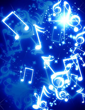 musical notes with sparkles on a blue background Stock Photo - 3302417