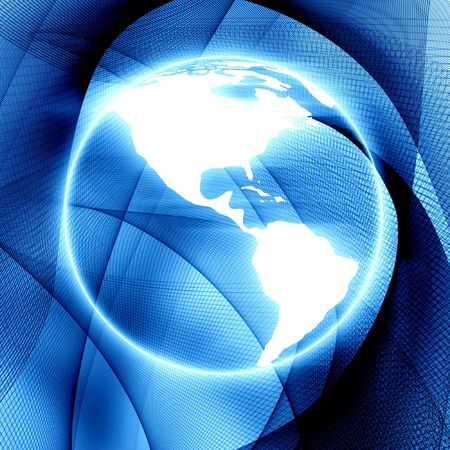 Digital world on a blue background Stock Photo - 3302429