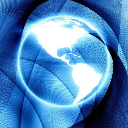 Digital world on a blue background Stock Photo - 3302429