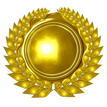 golden wreath with medal on a solid white background photo