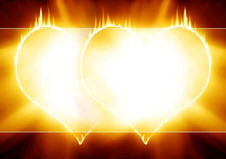 heartache: two burning hearts on a black background