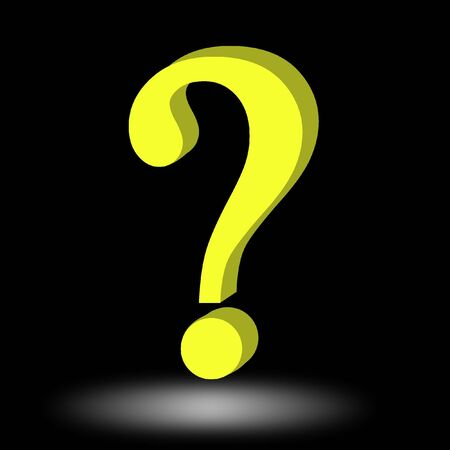 think tank: 3d question mark on a solid black background