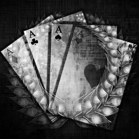 playing card with an integrated silver wreath photo