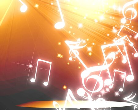 note pc: musical notes on a clear orange background