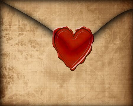 heartache: Old paper love letter with seal Stock Photo