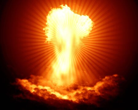 Bright nuclear explosion on a red background Stock Photo - 3301511