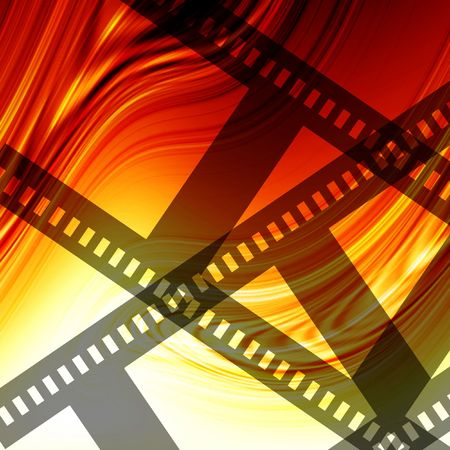 Abstract flowing fire background with negative filmstrip photo