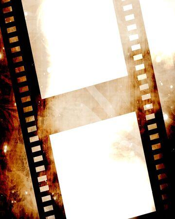 emulsion: old film strip on a grunge background Stock Photo