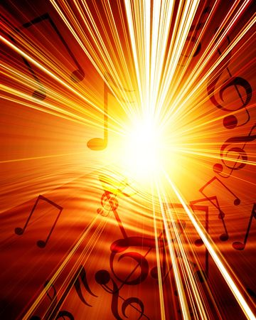 Glowing sunset with musical notes