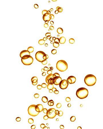 coupe de champagne: bulles de champagne d'or sur un fond blanc solide  Banque d'images