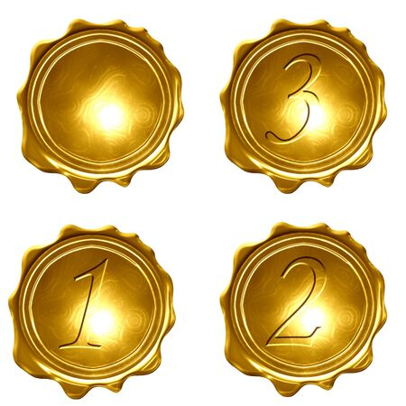 collection of gold medals on a white background Stock Photo - 3302517