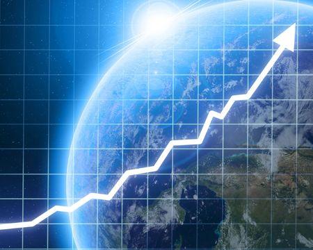 Arrow grafiek gaan met geïntegreerde planeet