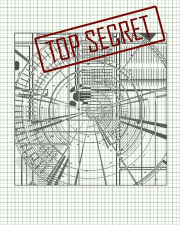 top secret blueprint, on office paper Stock Photo - 3302860